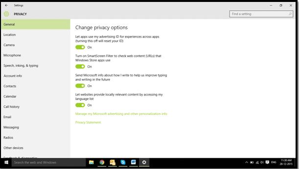 Privacy tab