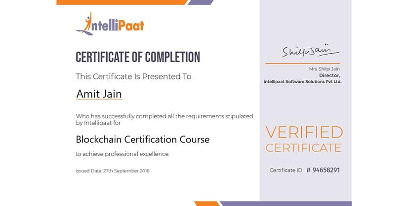 intellipaat blockchain certificate