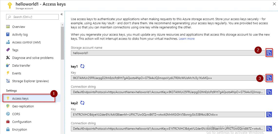 Azure storage account access keys-Azure Storage-Intellipaat