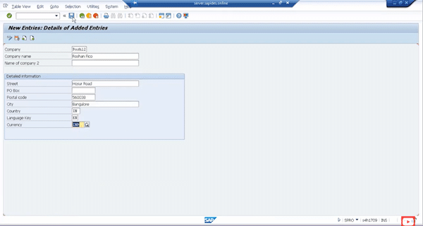 Demo on Creating New Company & Assigning a Company Code to it step 3