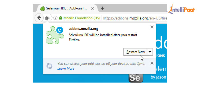 Selenium IDE installation procedure Step 3