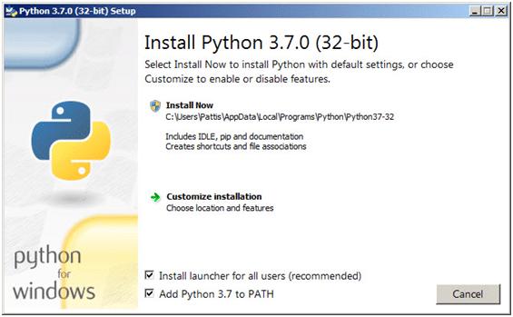 Step 1: Python Setup pop-up window